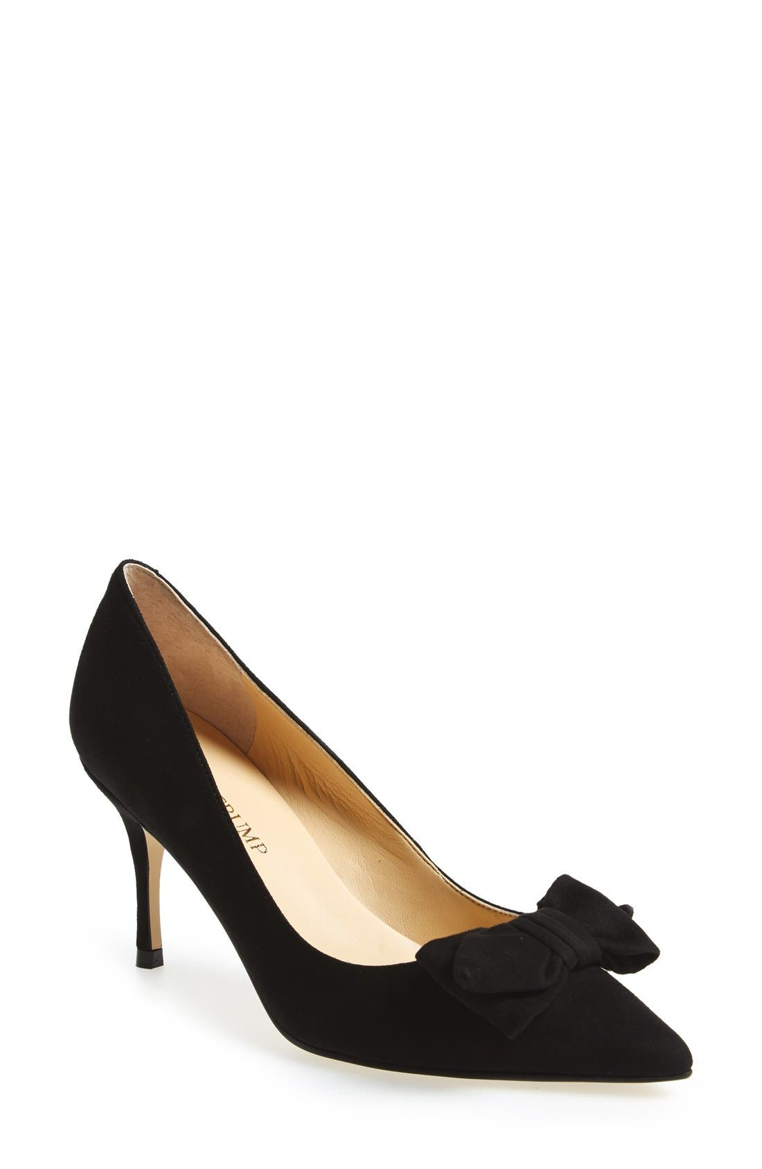 'Benny' Pointy Toe Bow Pump, Main, color, 001