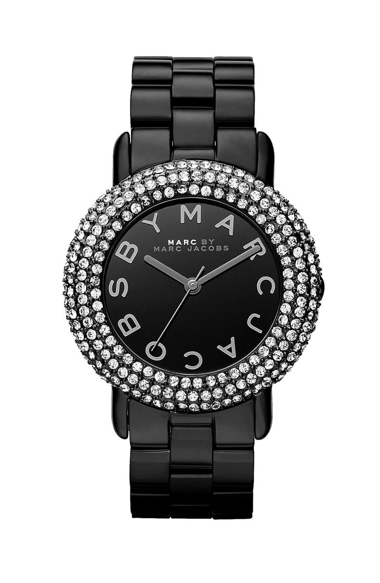 MARC JACOBS 'Marci' Mirror Dial Crystal Bezel Watch, 36mm, Main, color, 001