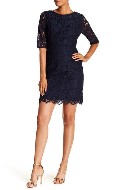 Image of Sharagano Lace Elbow Sleeve Sheath Dress