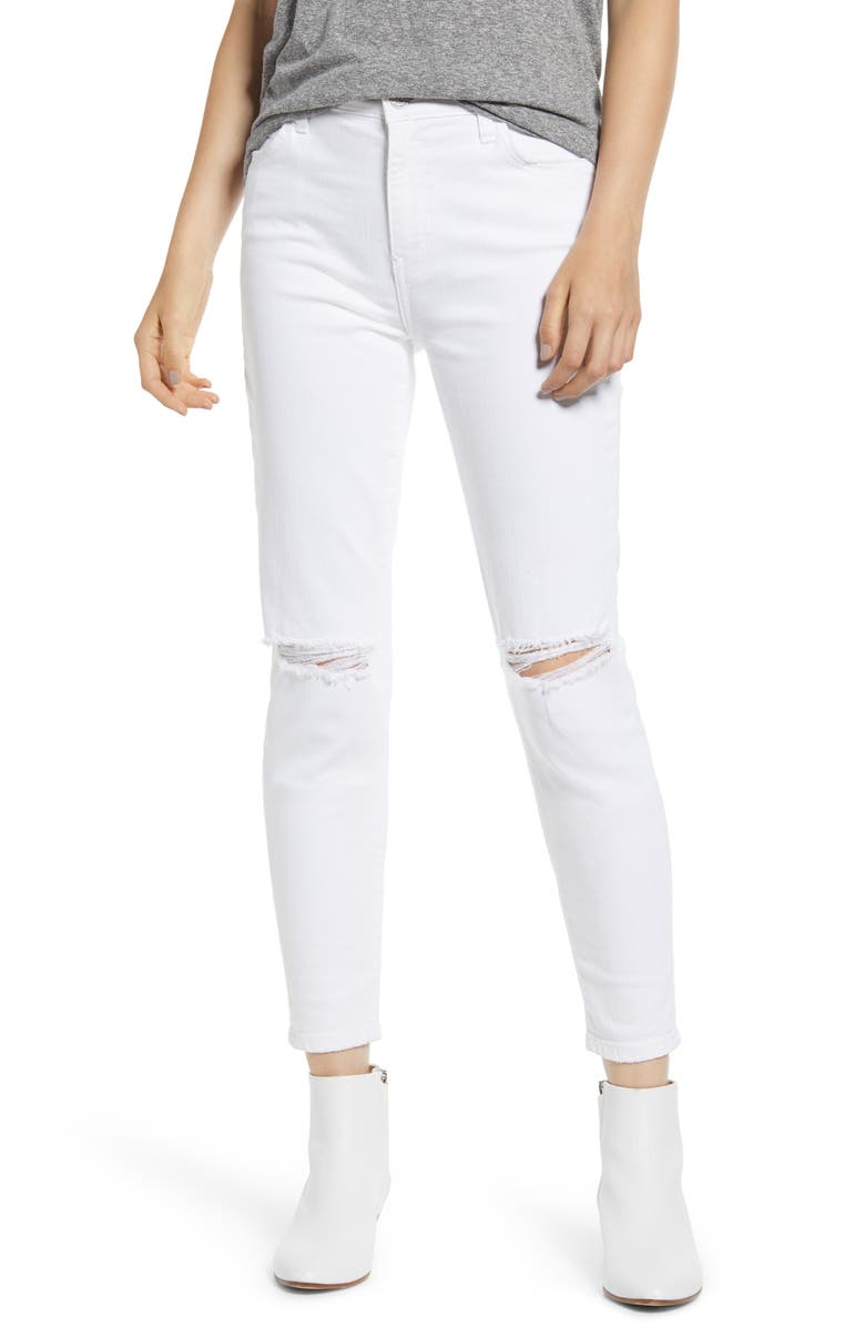 CURRENT/ELLIOTT The Stiletto High Waist Ankle Skinny Jeans, Main, color, 2 YEAR WHITE