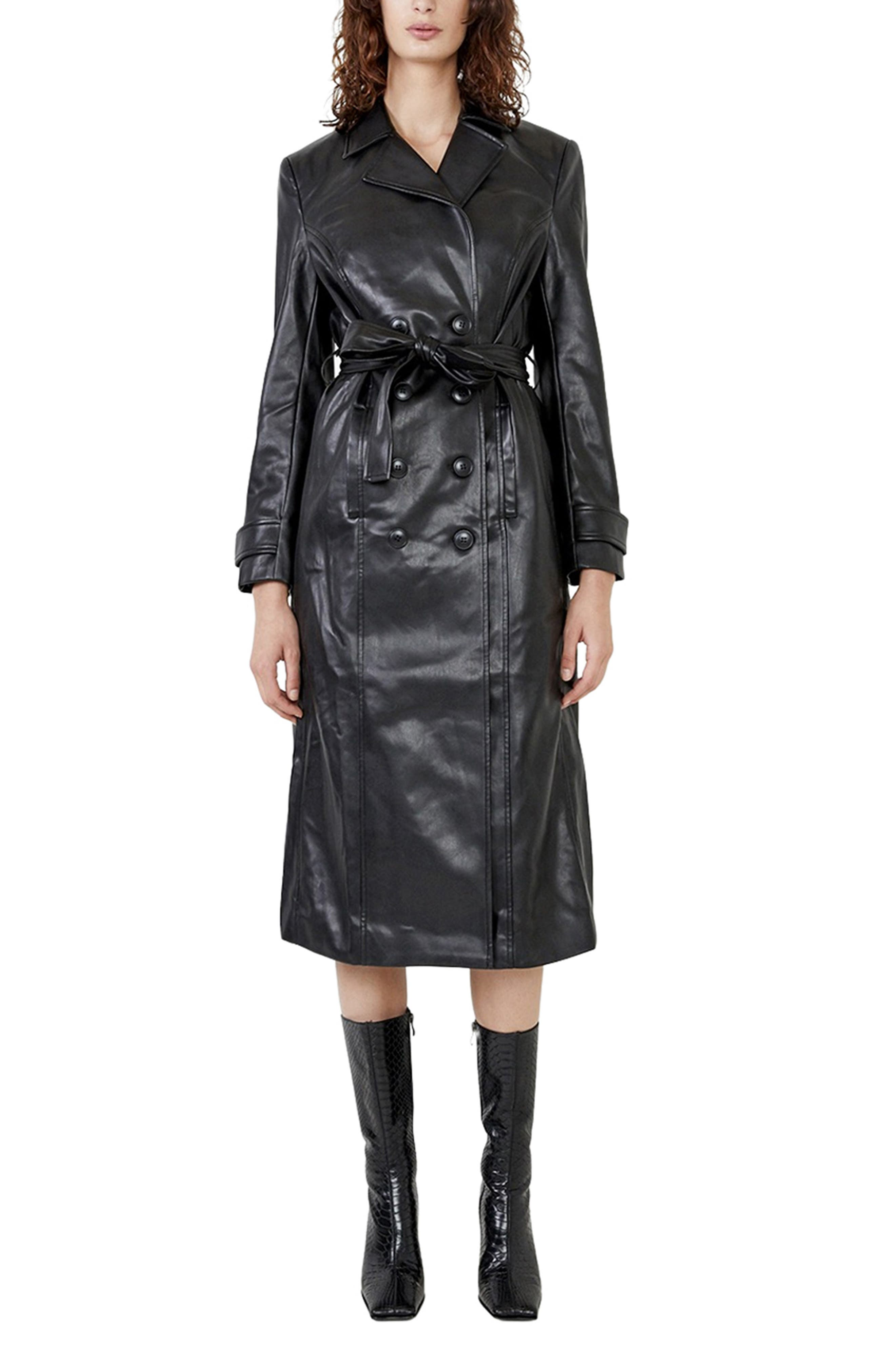 80s Windbreakers, Jackets, Coats | 90s Outerwear Womens Bardot Faux Leather Trench Coat Size X-Small - Black $199.00 AT vintagedancer.com