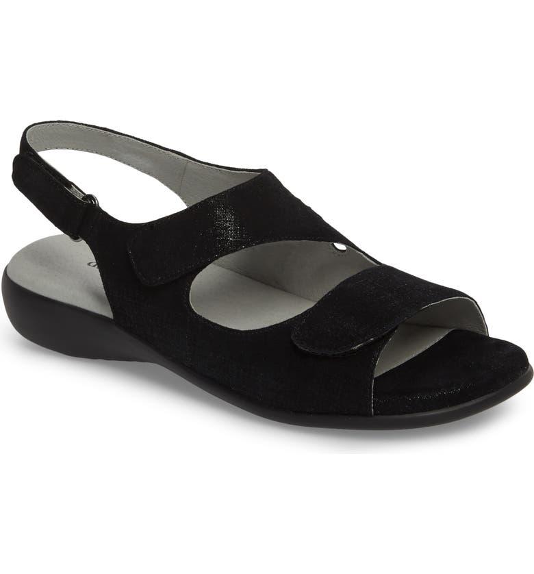 DAVID TATE Lilly Slingback Sandal, Main, color, BLACK LEATHER