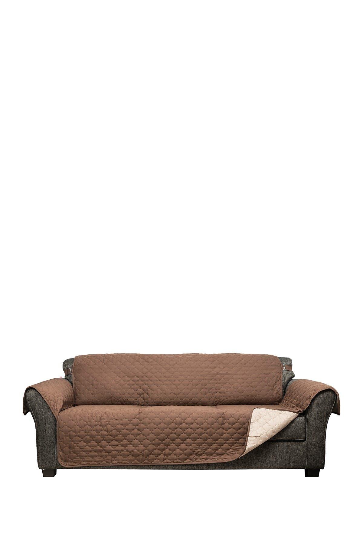 Image of Duck River Textile Chocolate/Natural Reynolda Reversible Waterproof Microfiber Sofa Cover