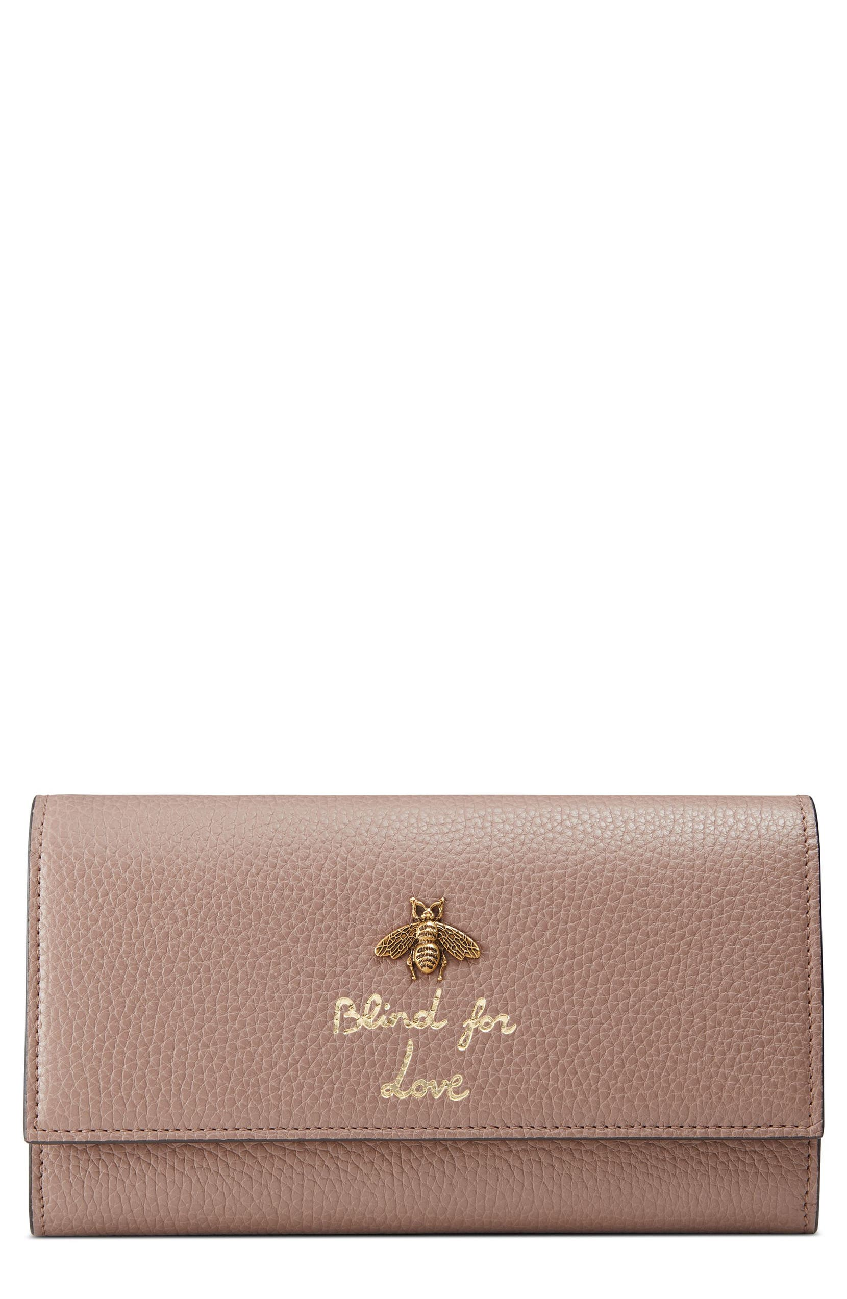 e79977c1ce78 Gucci Animalier Bee Leather Continental Wallet | Nordstrom