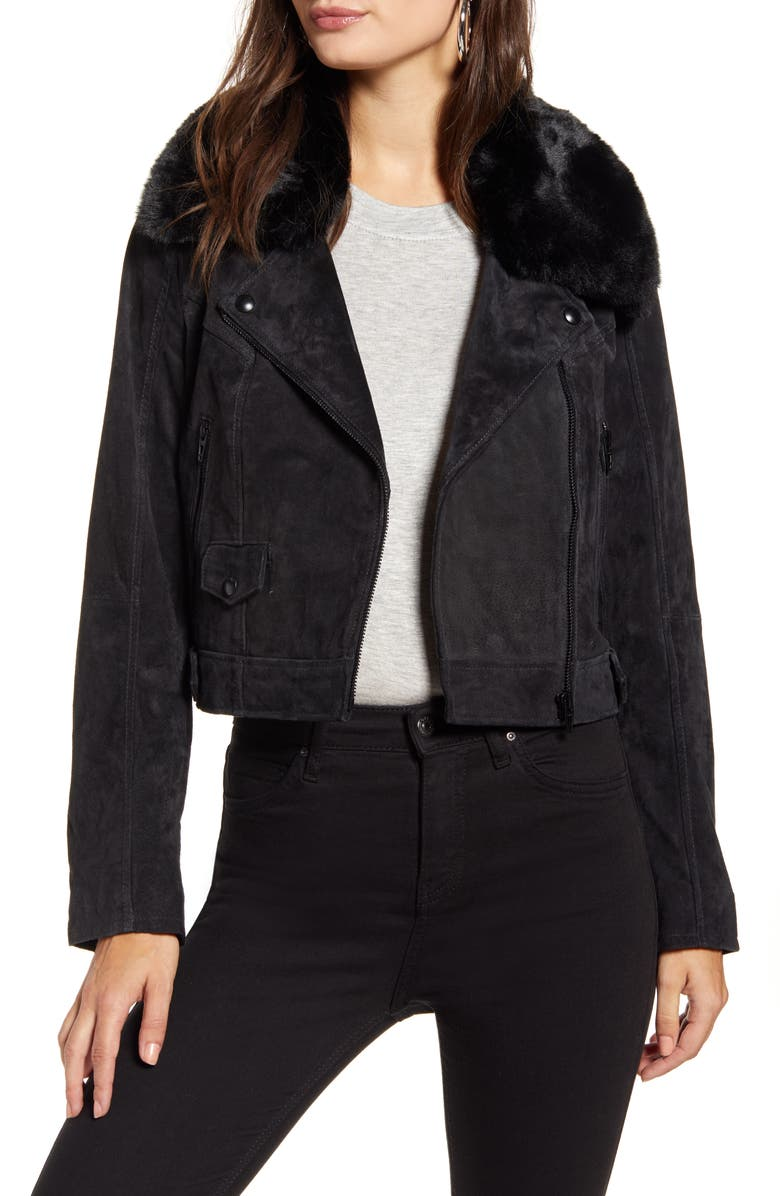 BLANKNYC Removable Faux Fur Collar Suede Moto Jacket, Main, color, CARBON