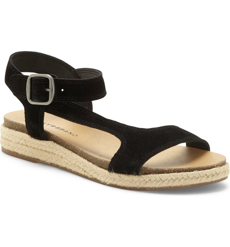 LUCKY BRAND Gabrien Sandal, Main, color, BLACK SUEDE