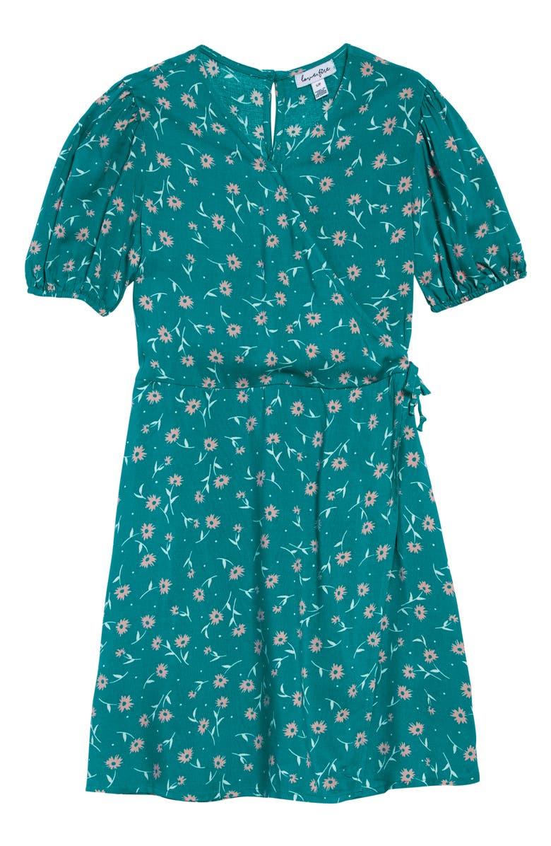 LOVE, FIRE Faux Wrap Dress, Main, color, GREEN FLORAL