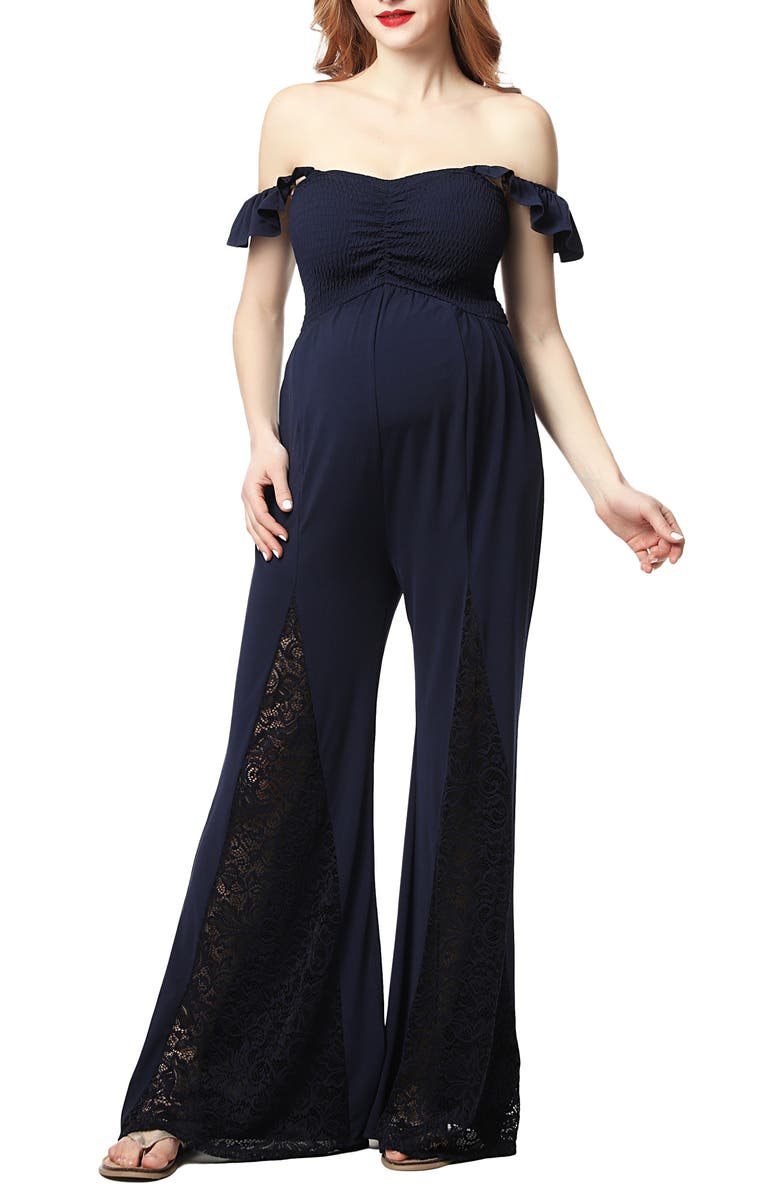 KIMI AND KAI Mel Lace Inset Maternity Jumpsuit, Main, color, NAVY