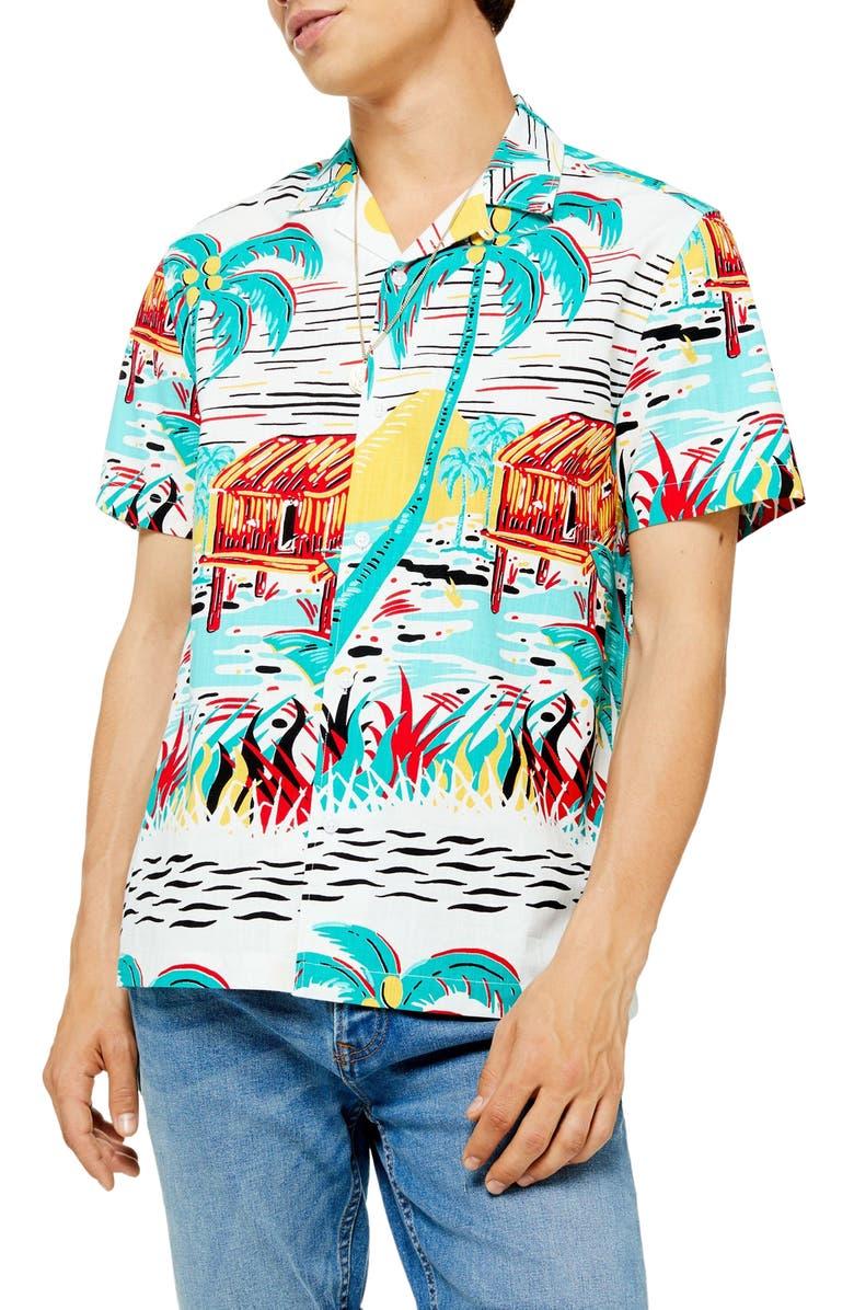 TOPMAN Slim Fit Aloha Print Short Sleeve Button-Up Shirt, Main, color, WHITE MULTI