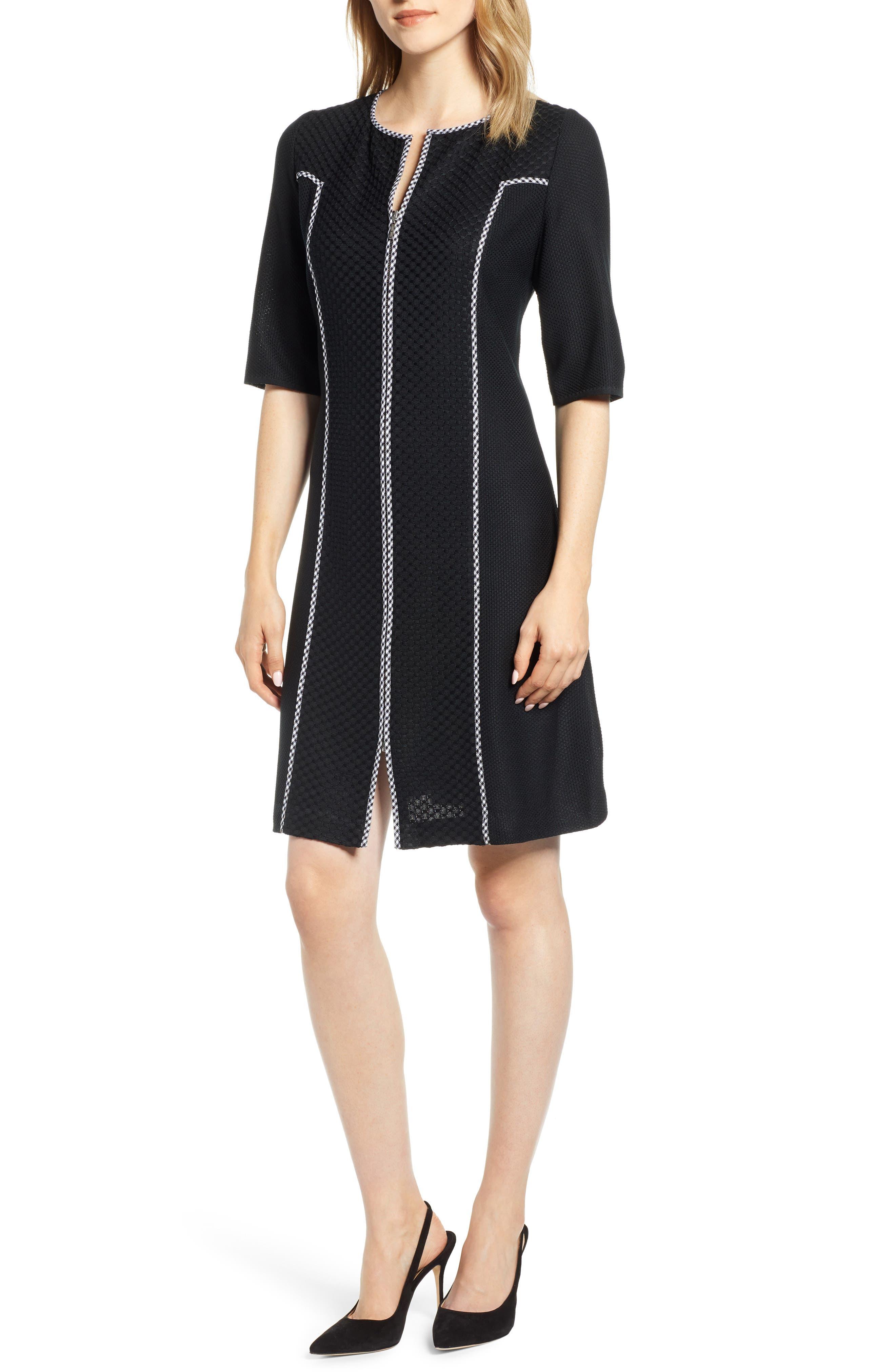 Ming Wang Gingham Trim Dress, Black
