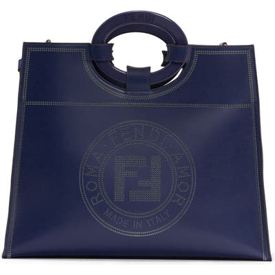 Fendi Medium Runaway Perforated Leather Shopper - Blue