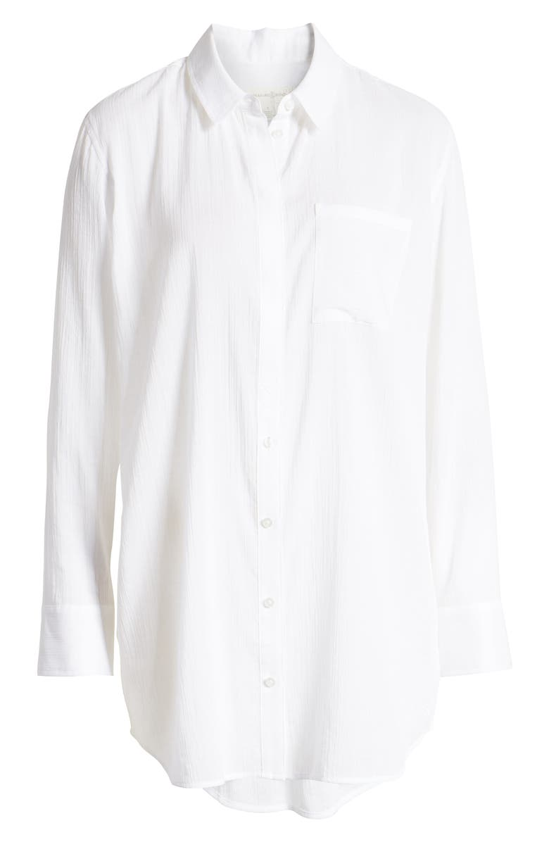 TREASURE & BOND Gauzy Tunic Shirt, Alternate, color, WHITE