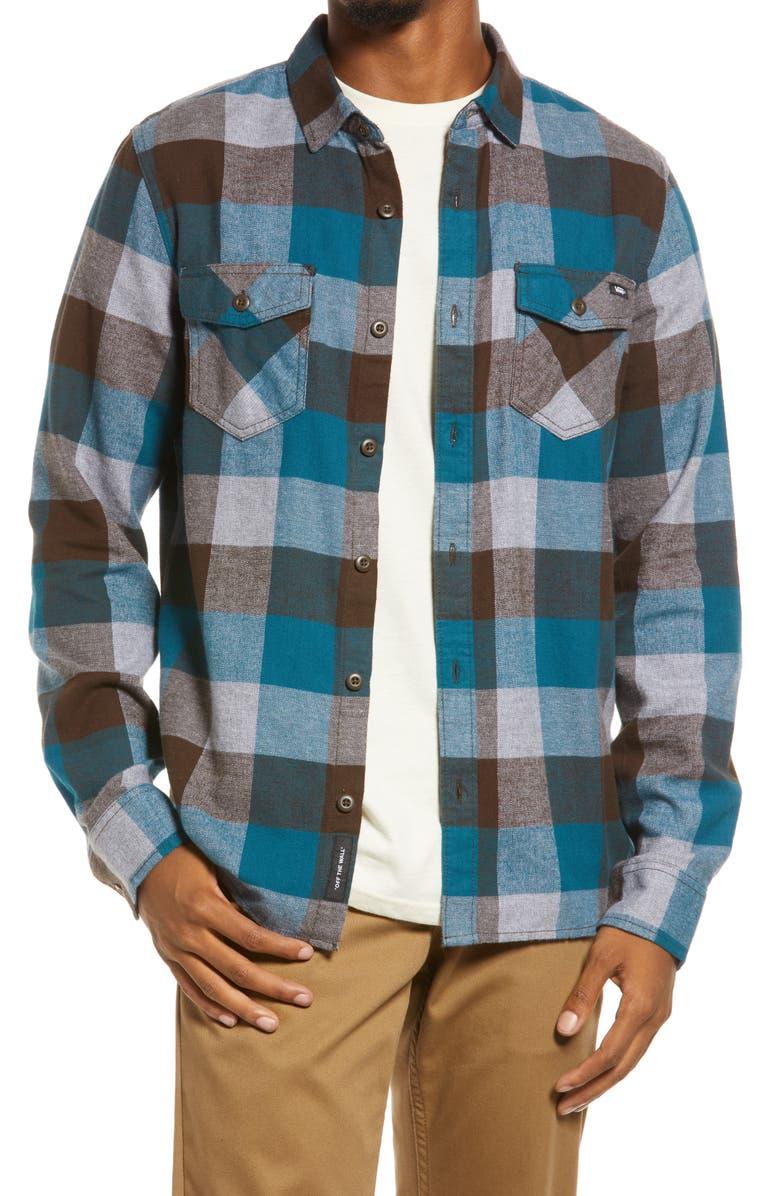 VANS Men's Box Buffalo Check Flannel Button-Up Shirt, Main, color, DEMITASSE/BLUE CORAL