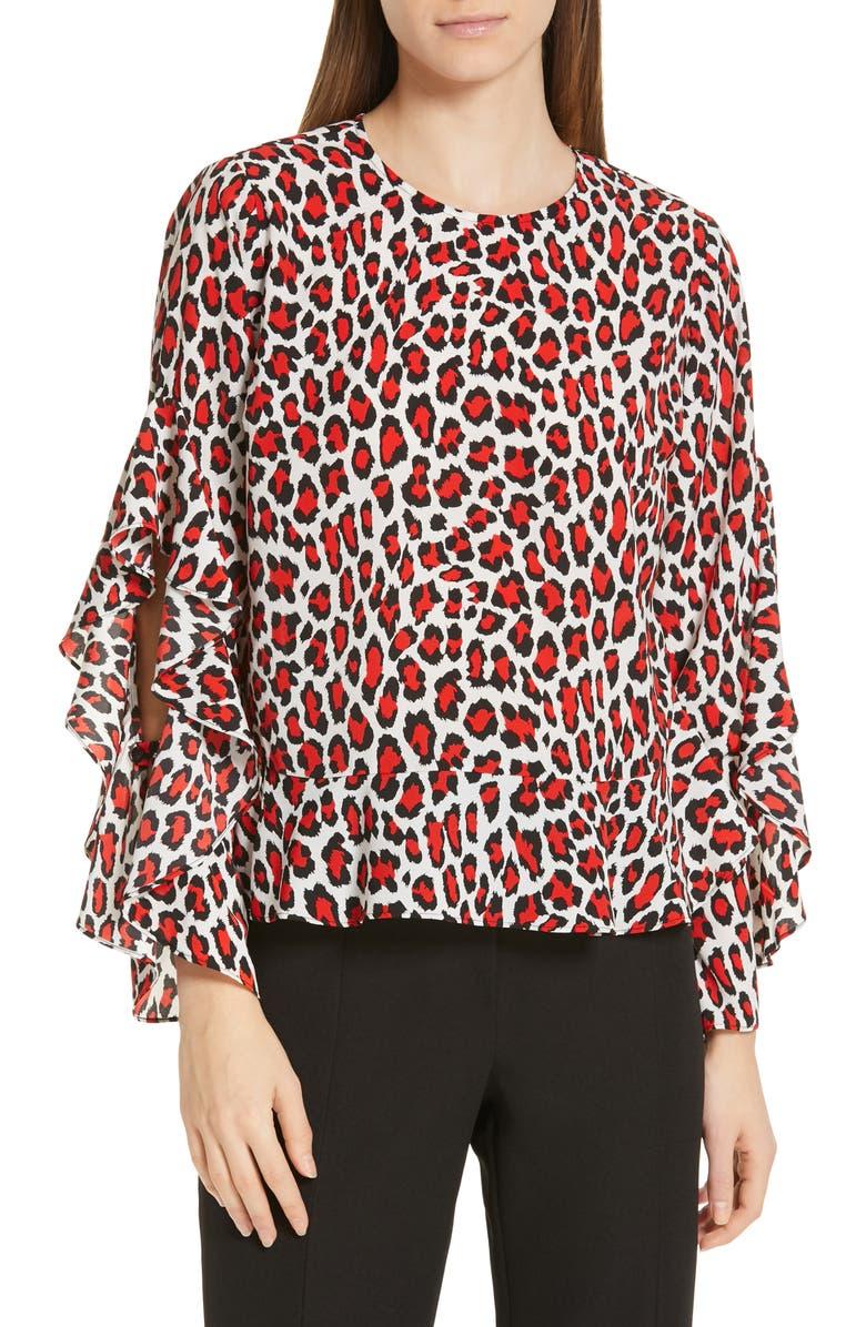 ROBERT RODRIGUEZ Lena Leopard Print Split Sleeve Top, Main, color, 600