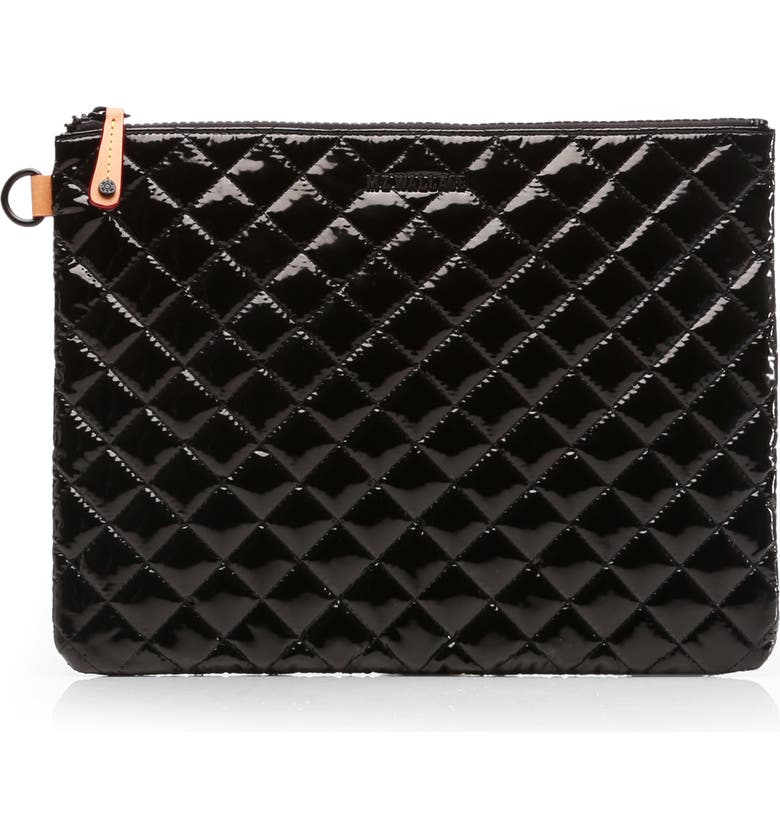 MZ WALLACE Metro Pouch, Main, color, BLACK LACQUER