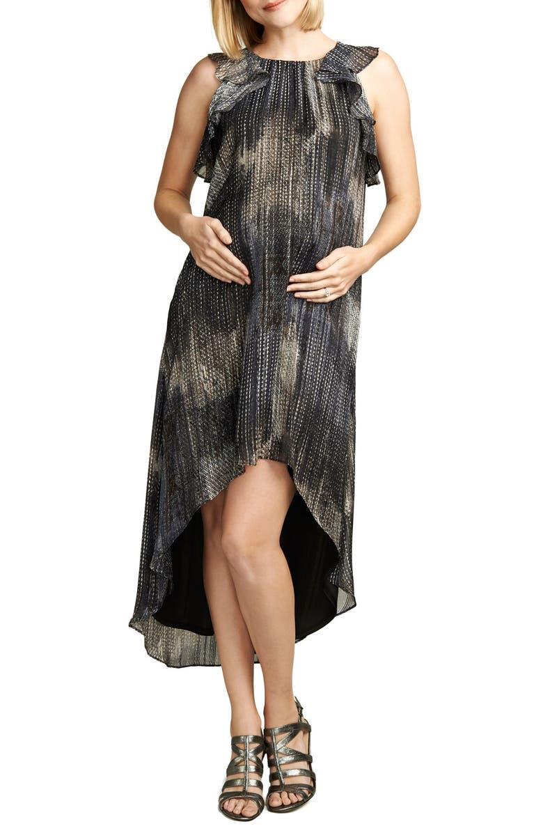 MATERNAL AMERICA Ruffle Chiffon High/Low Maternity Dress, Main, color, METALLIC LUREX PRINT