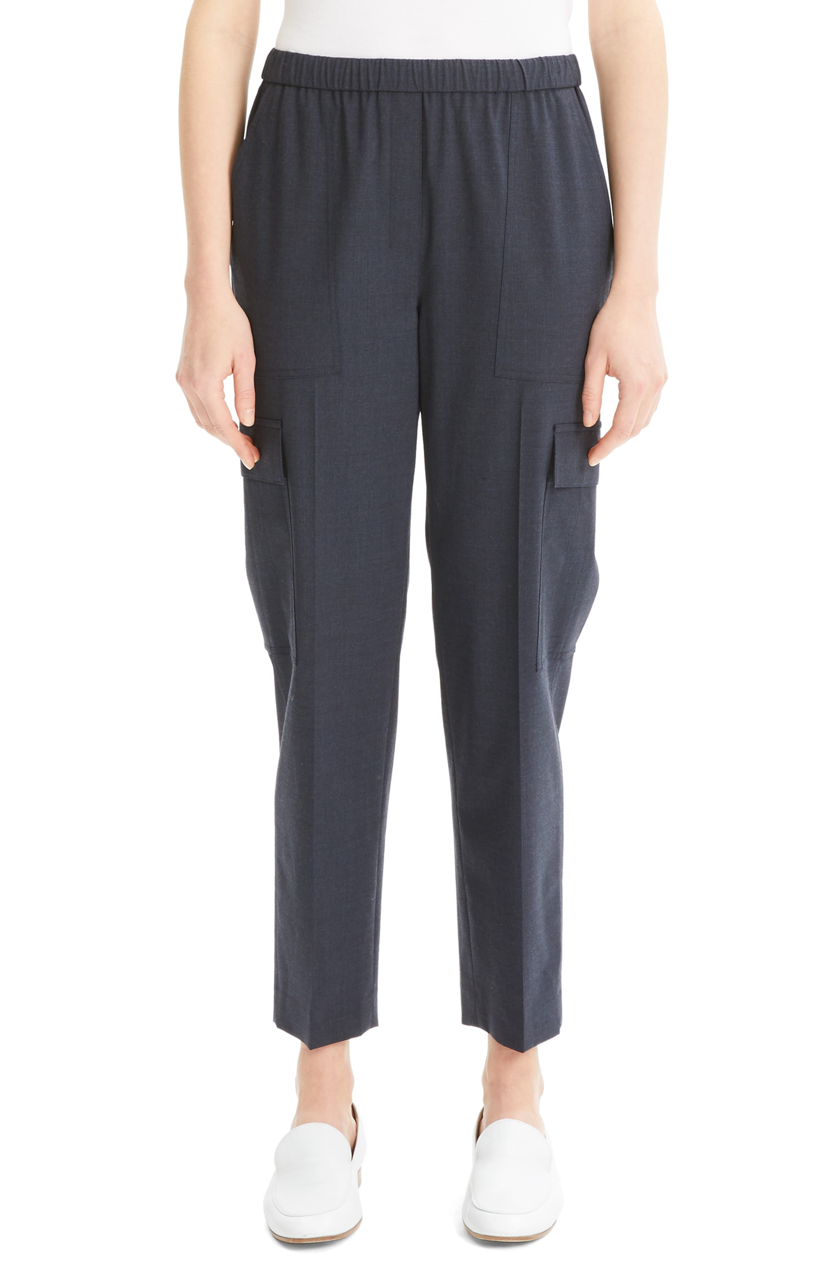 Theory Easy Stretch Wool Cargo Pants, Blue