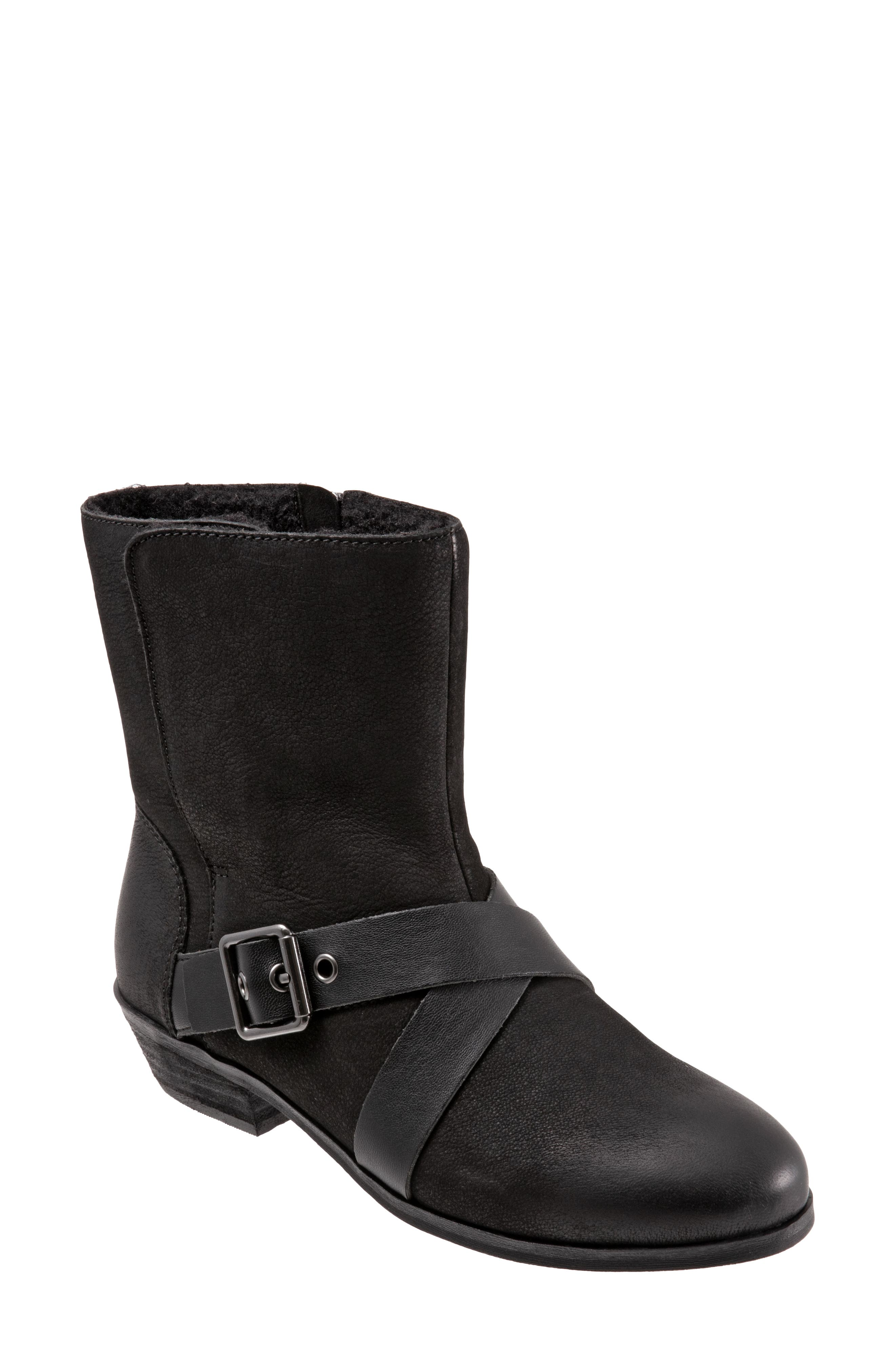 Experience true comfort in style with this faux fur-lined boot featuring decorative crossover straps and a memory foam-cushioned sole. Style Name: Softwalk Rayne Faux Fur Lined Bootie (Women). Style Number: 6128756. Available in stores.