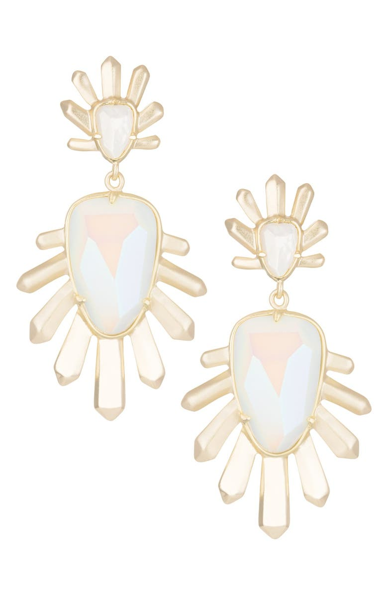 KENDRA SCOTT 'Sterling' Spike Stone Drop Earrings, Main, color, GOLD IRIDESCENT WHITE