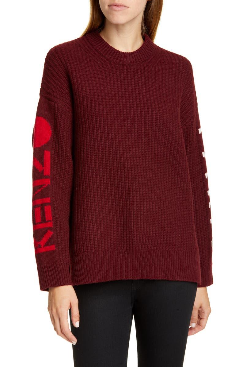 KENZO Intarsia Logo Wool Blend Sweater, Main, color, BORDEAUX