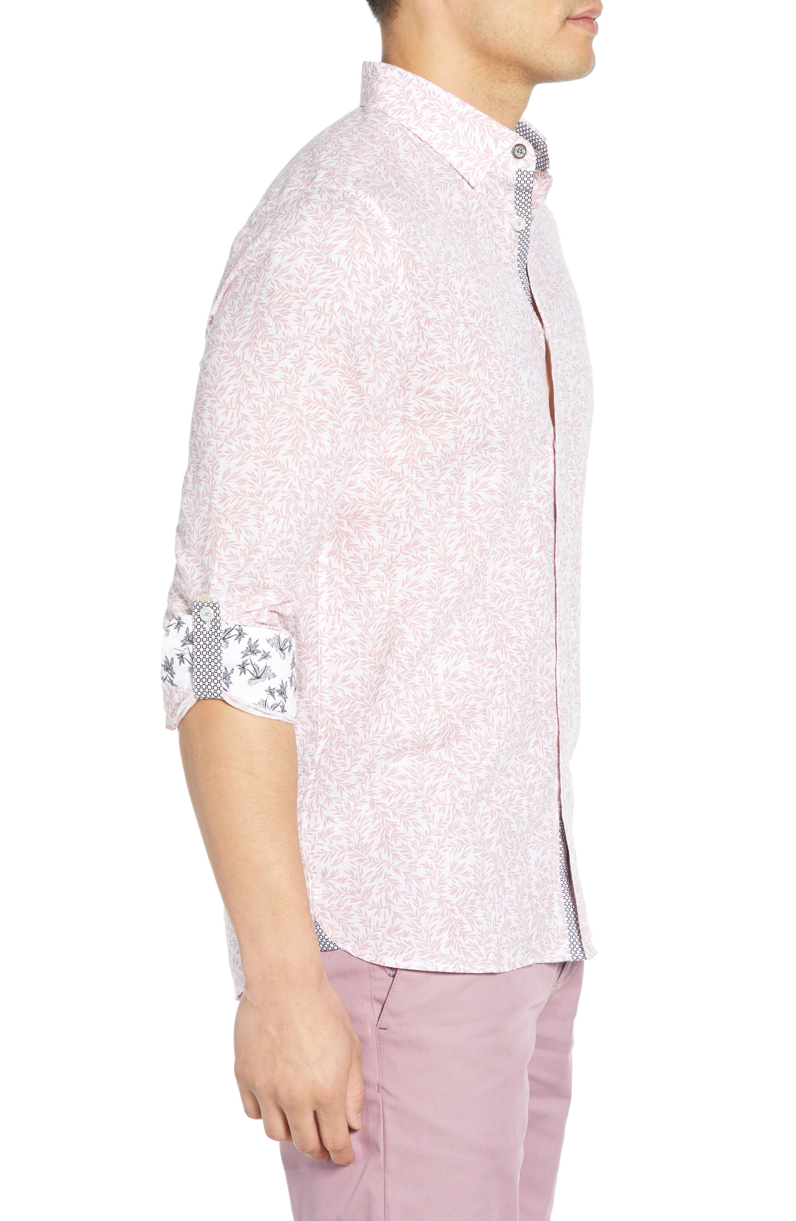 ,                             Leemar Slim Fit Floral Sport Shirt,                             Alternate thumbnail 4, color,                             PINK