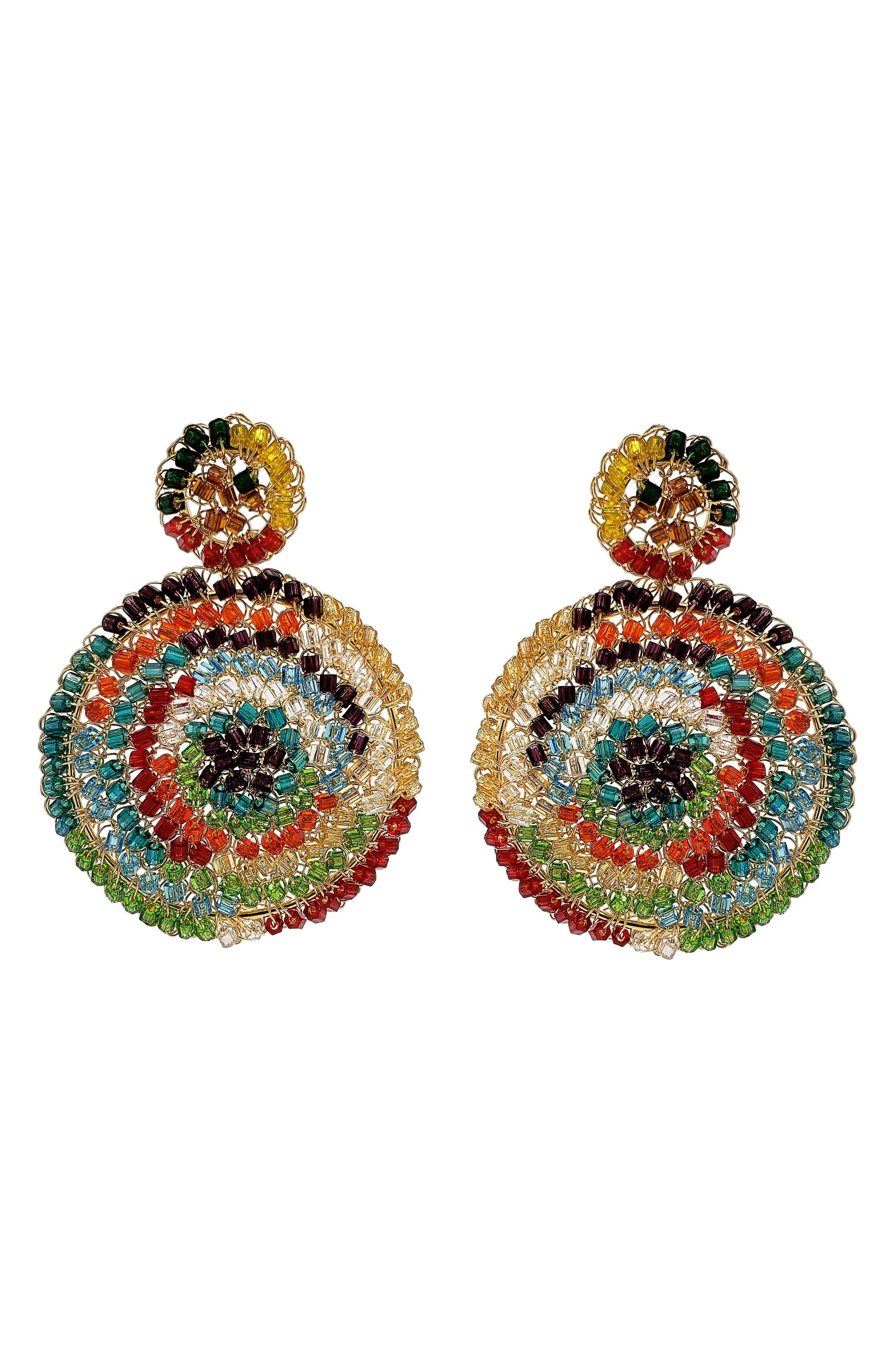 Multicolor Beaded Drop Earrings