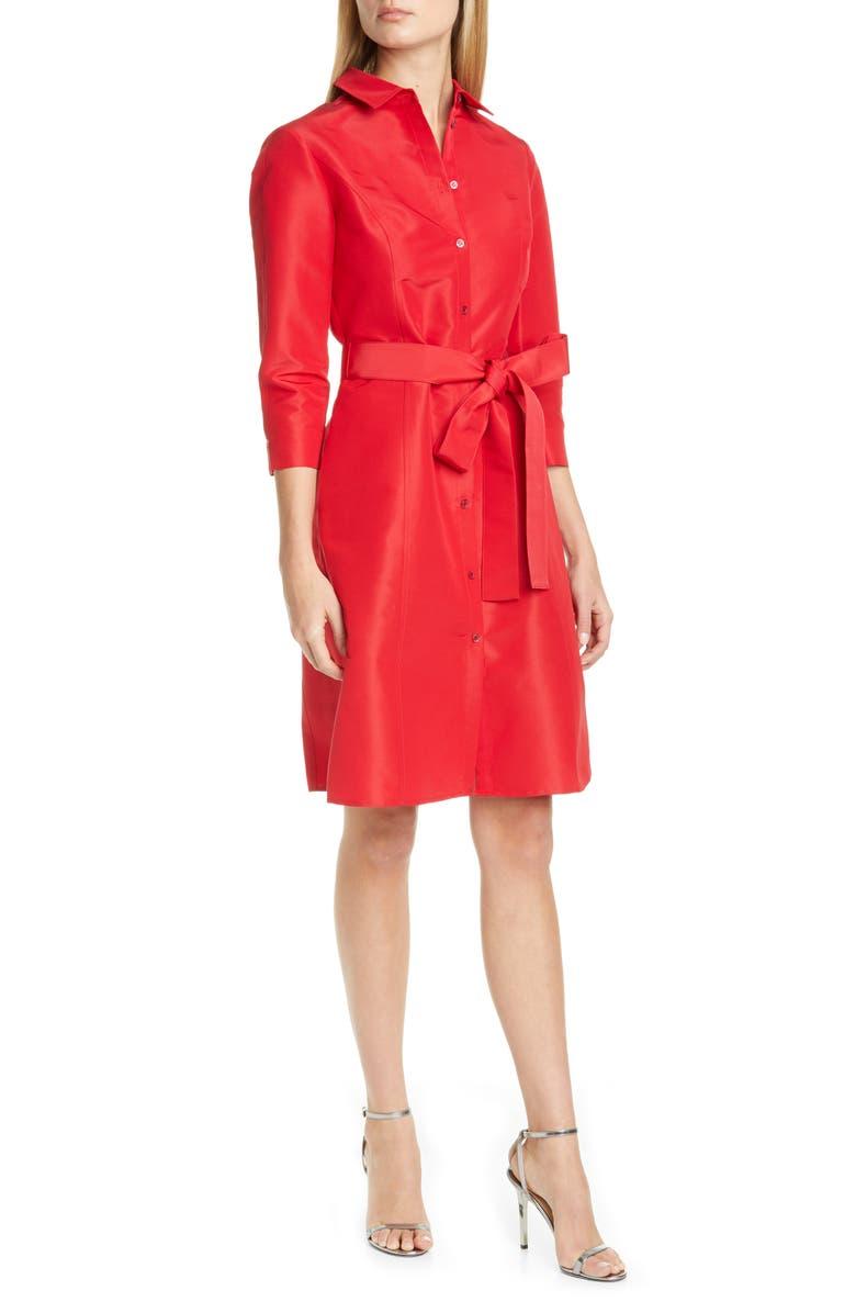 CAROLINA HERRERA Belted Silk Shirtdress, Main, color, ICON RED