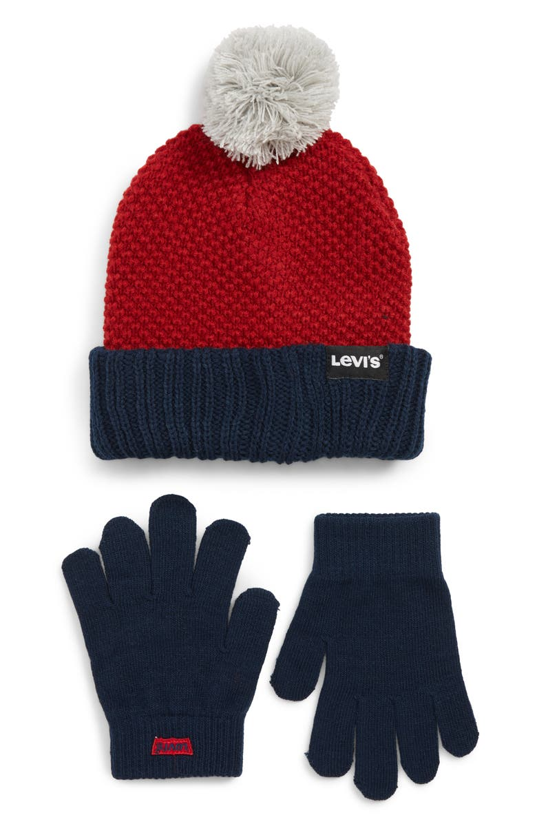 LEVI'S<SUP>®</SUP> Bold Beanie & Gloves Set, Main, color, CHILI PEPPER