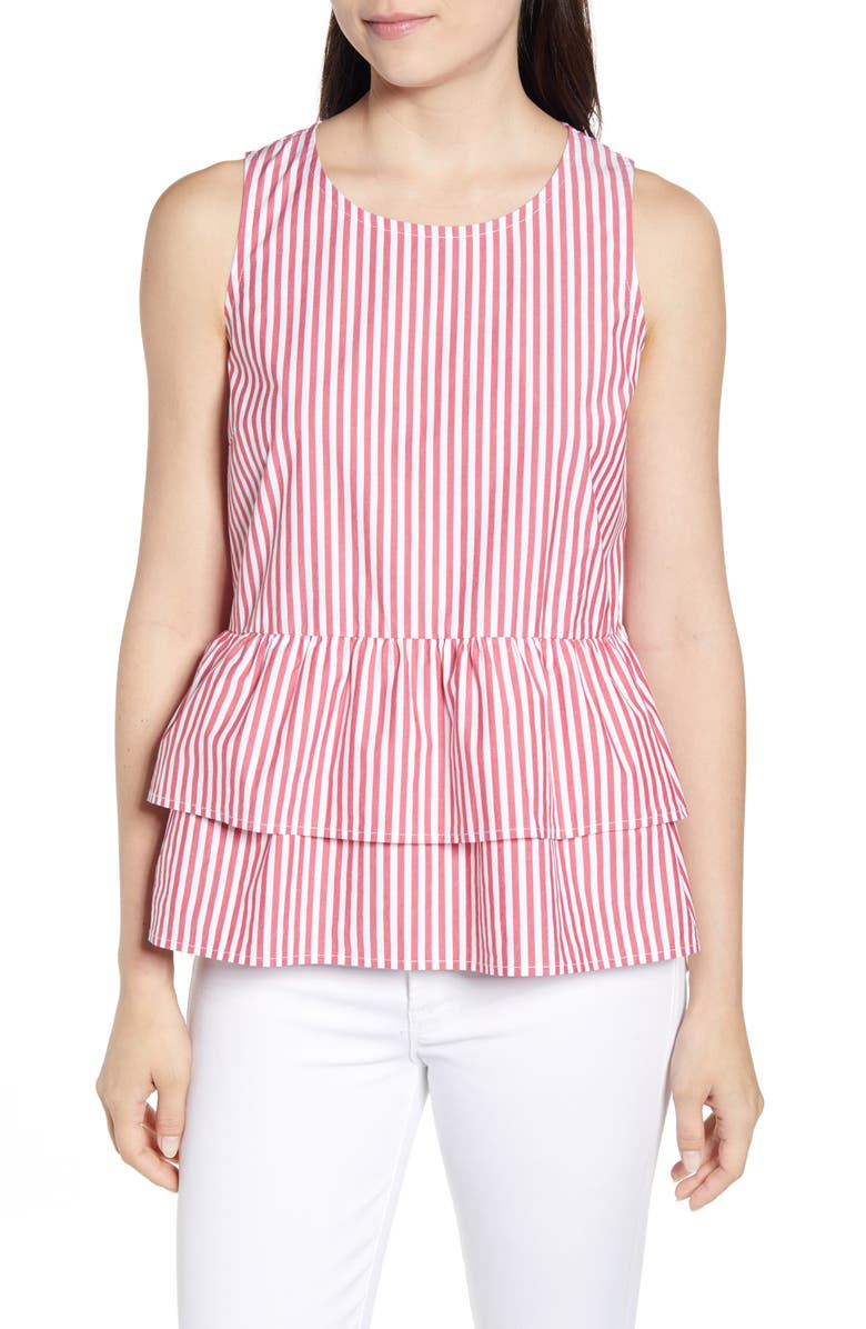 VINEYARD VINES Grier Stripe Peplum Top, Main, color, LIGHTHOUSE RED