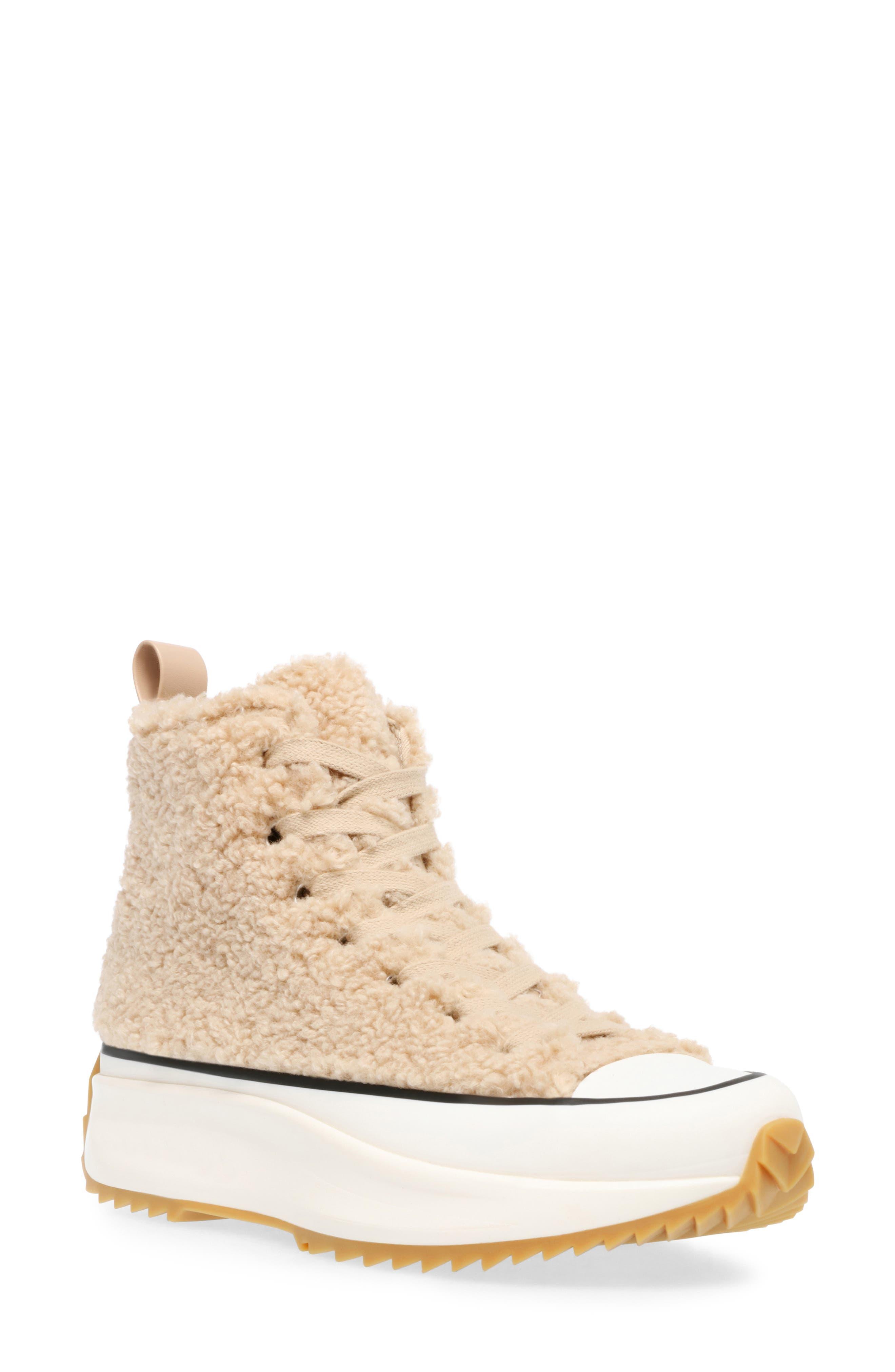 Women s Steve Madden Faux Shearling Platform Sneaker E5109