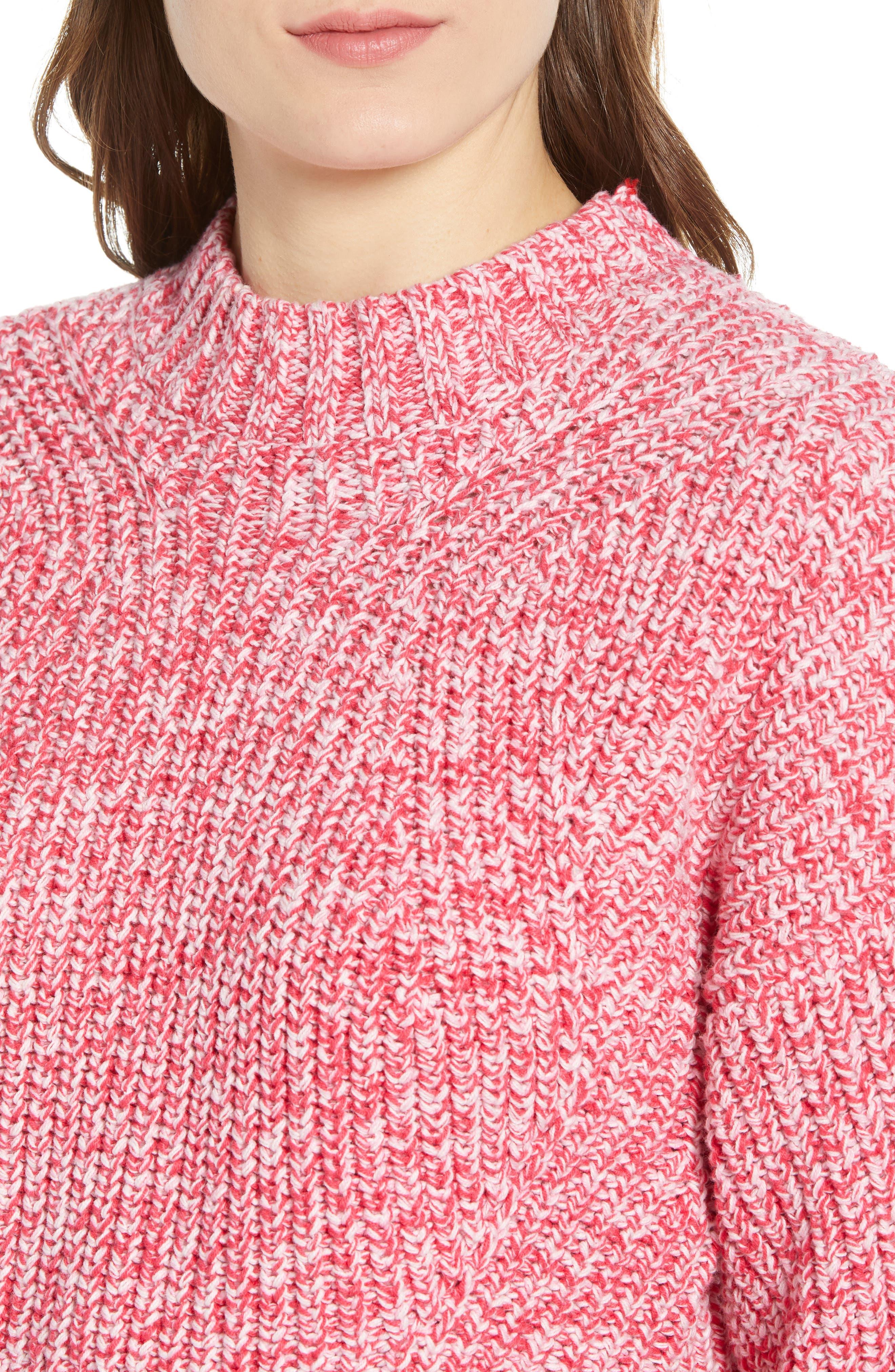 ,                             Blouson Sleeve Sweater,                             Alternate thumbnail 4, color,                             PINK MELANGE