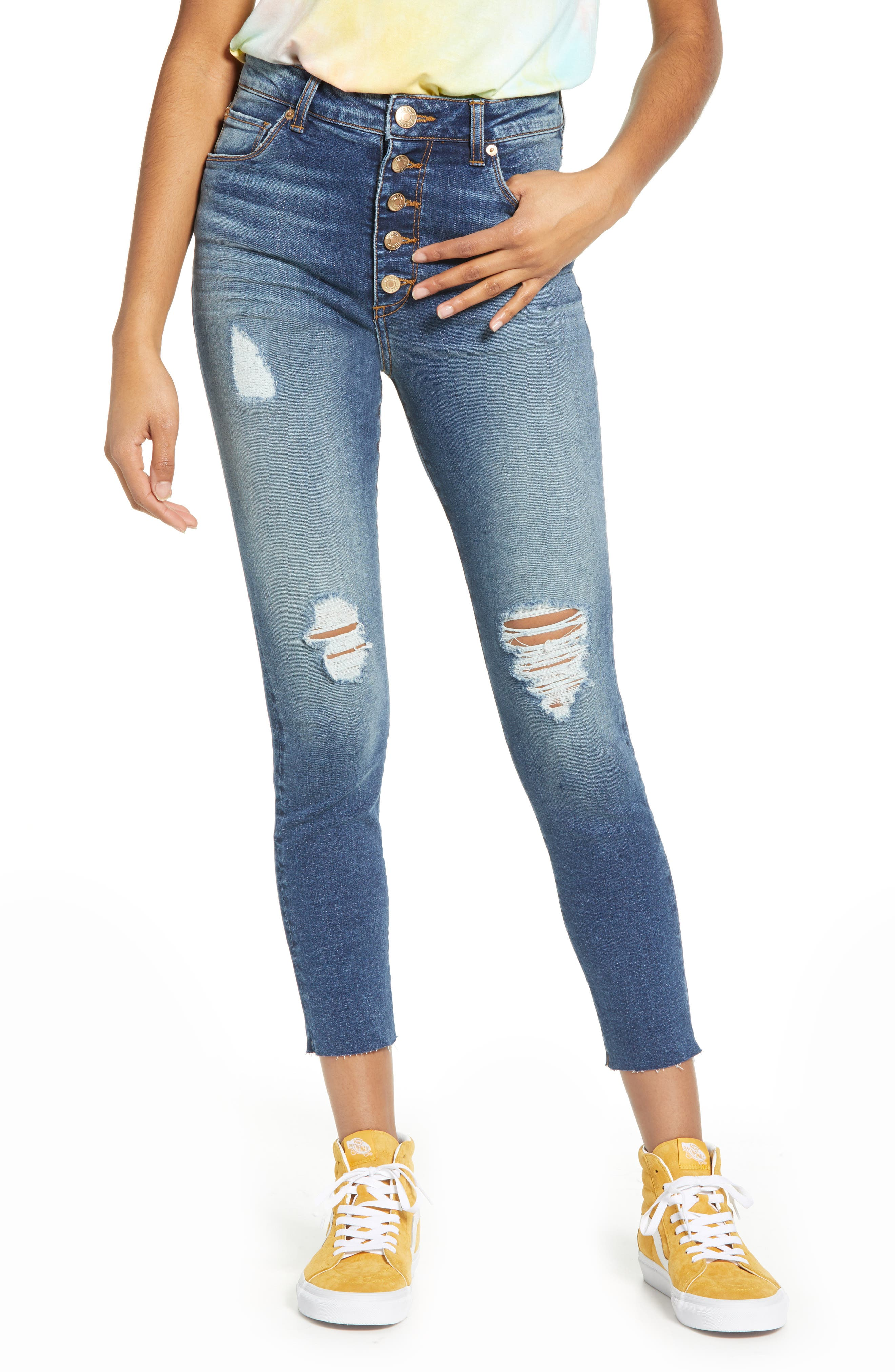 STS Blue Ellie Ripped High Waist Crop Skinny Jeans (South Sunlight)
