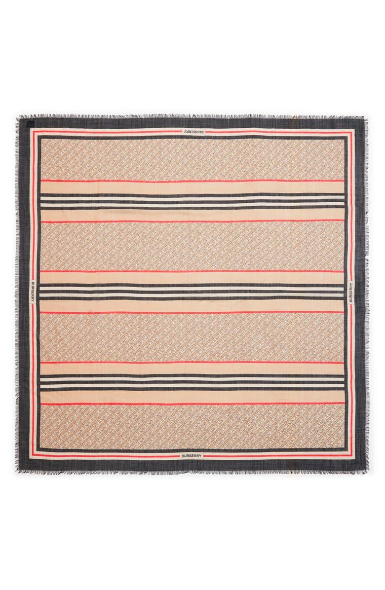 BURBERRY Large TB Monogram Stripe Wool & Silk Gauze Scarf, Main, color, ARCHIVE BEIGE