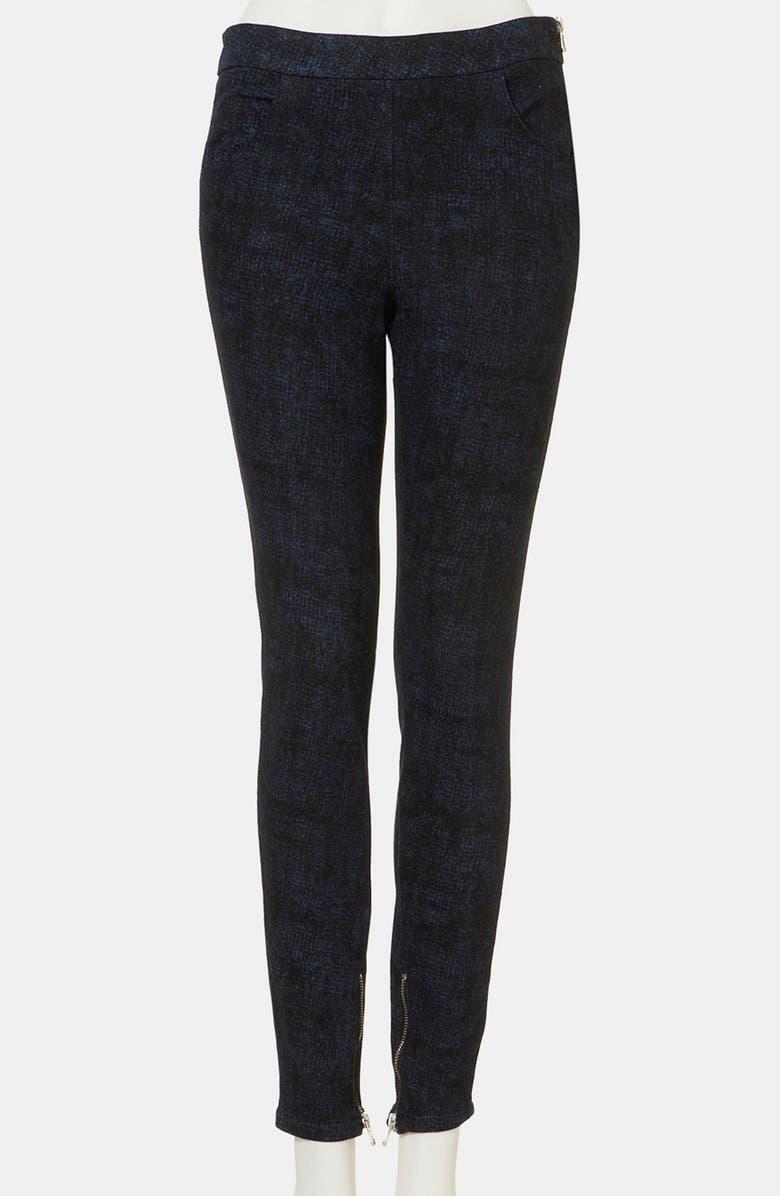 TOPSHOP Sketch Print Skinny Pants, Main, color, 400