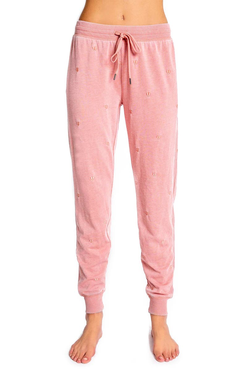 PJ SALVAGE Peace Embroidered Lounge Pants, Main, color, DUSTY ROSE