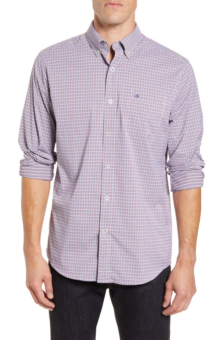 SOUTHERN TIDE Lazeret Regular Fit Gingham Button-Down Performance Shirt, Main, color, BLACK CHERRY