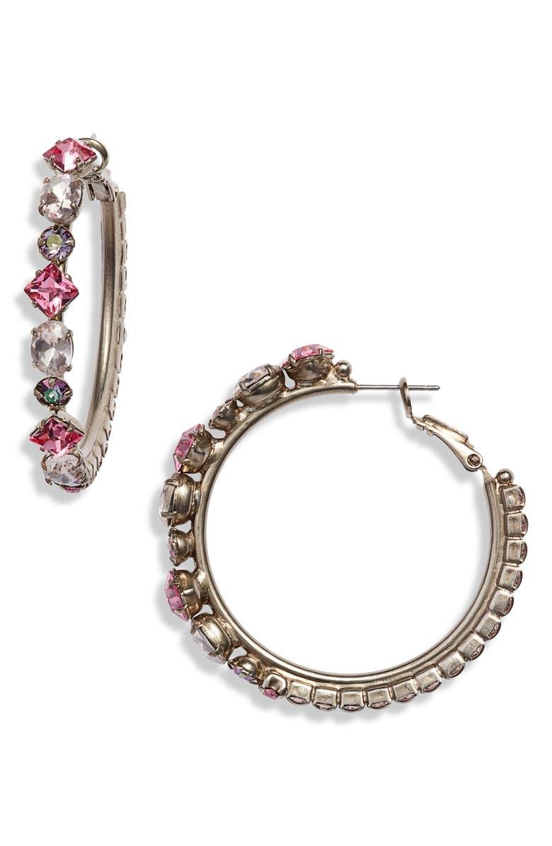 SORRELLI Crystal Hoop Earrings, Main, color, 710