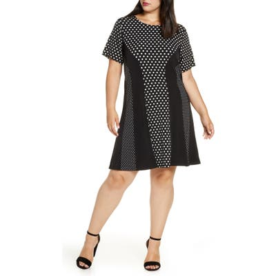 Plus Size Michael Michael Kors Mod Dot Combo Dress, Black