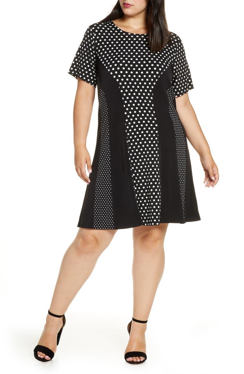 MICHAEL MICHAEL KORS Mod Dot Combo Dress, Main, color, 001