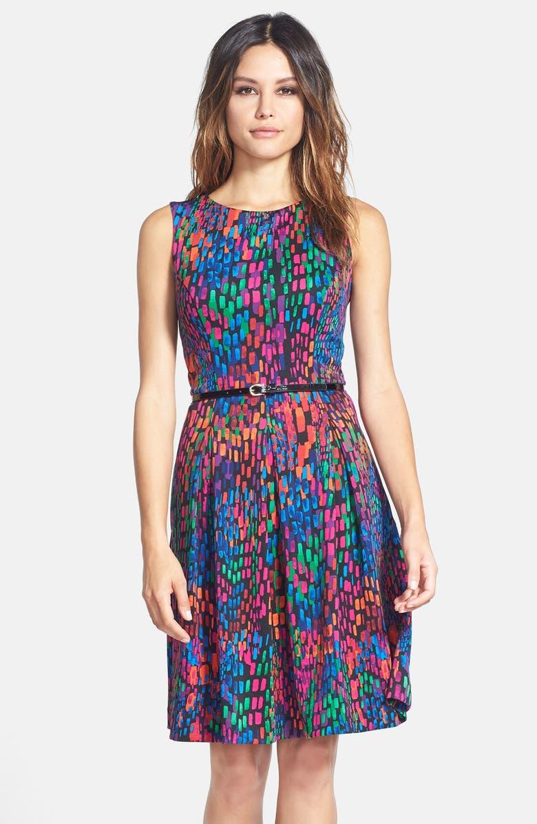 ELLEN TRACY Print Scuba Fit & Flare Dress, Main, color, BLACK MULTI