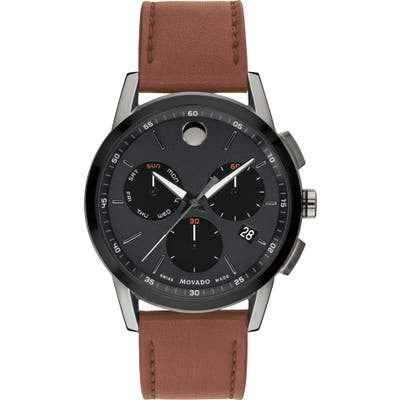 Movado Museum Sport Chronograph Leather Strap Watch, 4m