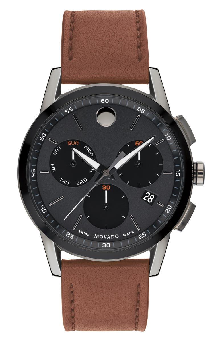 MOVADO Museum Sport Chronograph Leather Strap Watch, 43mm, Main, color, COGNAC/ BLACK/ GUNMETAL