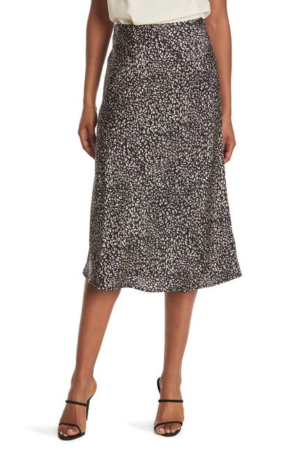 Image of Sanctuary Printed Satin Pull On Midi Skirt