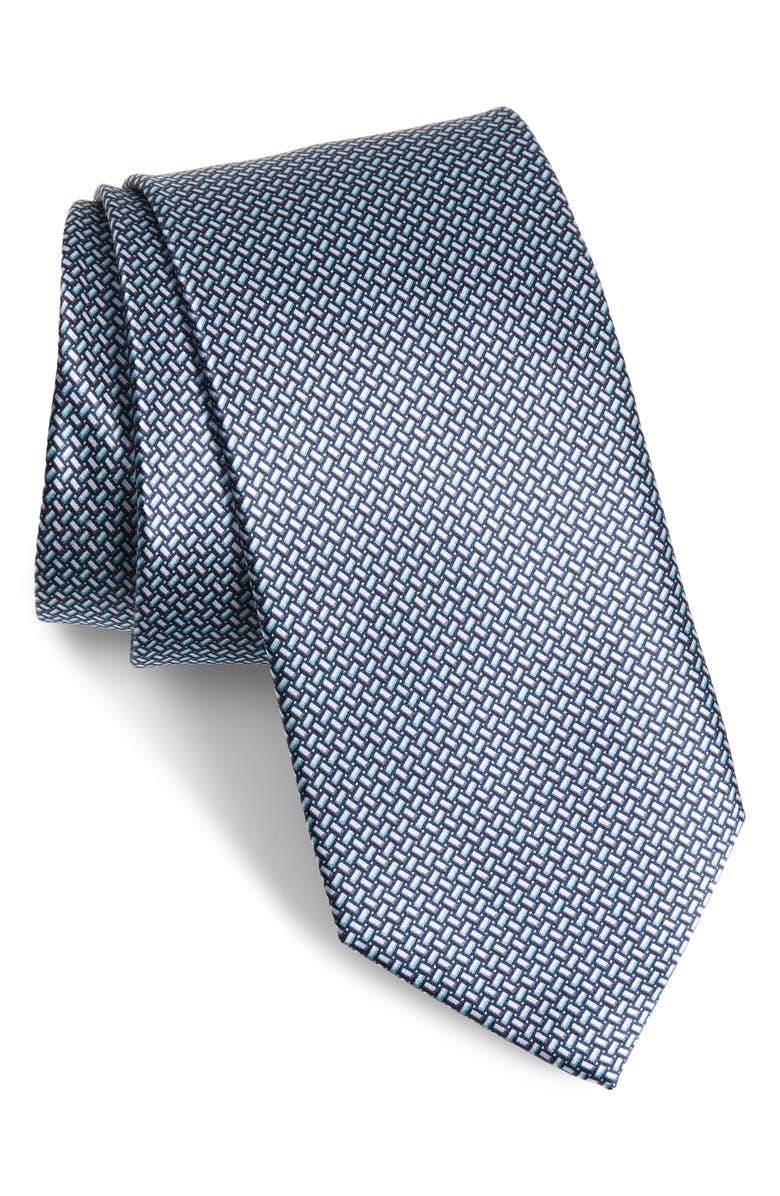 CANALI Neat Silk Tie, Main, color, GREY