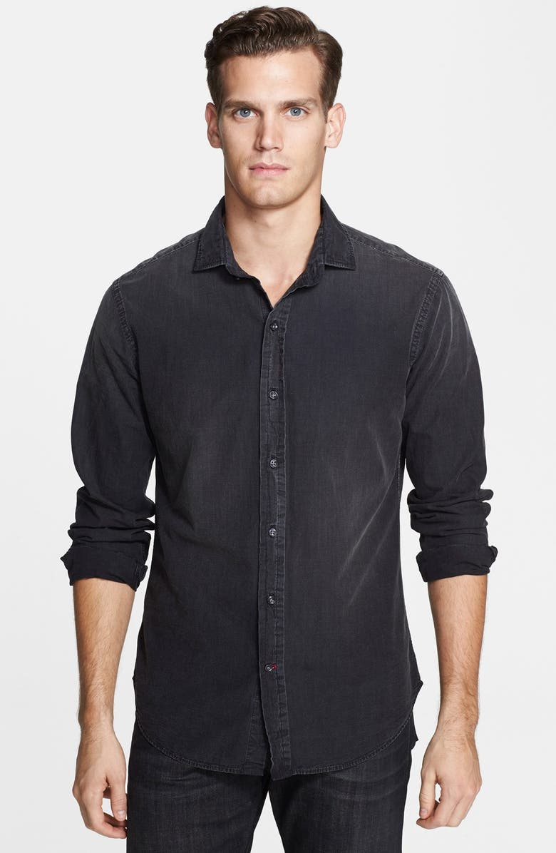 RALPH LAUREN BLACK LABEL 'Sloan' Trim Fit Washed Chambray Shirt, Main, color, 001