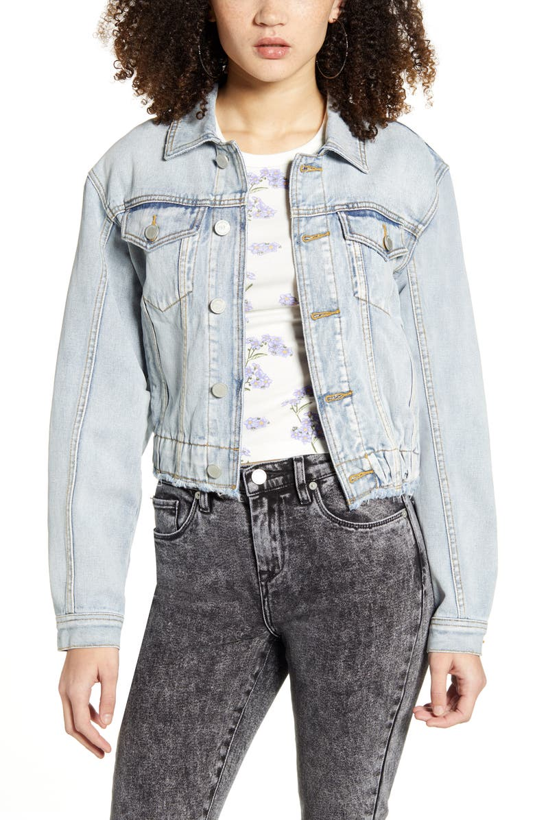 BLANKNYC Elastic Waist Denim Trucker Jacket, Main, color, STAN CLUTURE
