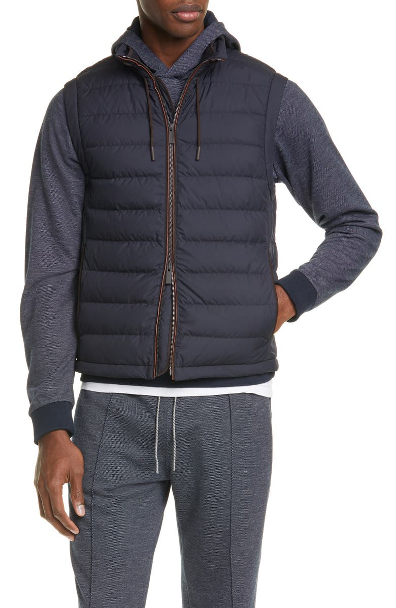 ERMENEGILDO ZEGNA Quilted Down Vest, Main, color, NAVY