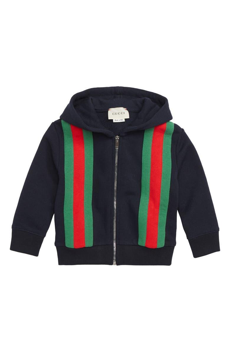 GUCCI Stripe Zip Hoodie, Main, color, 493