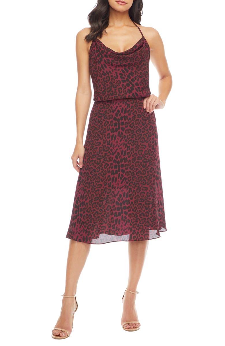 DRESS THE POPULATION Zherra Leopard Print Cowl Neck Halter Dress, Main, color, BURGUNDY LEOPARD MULTI