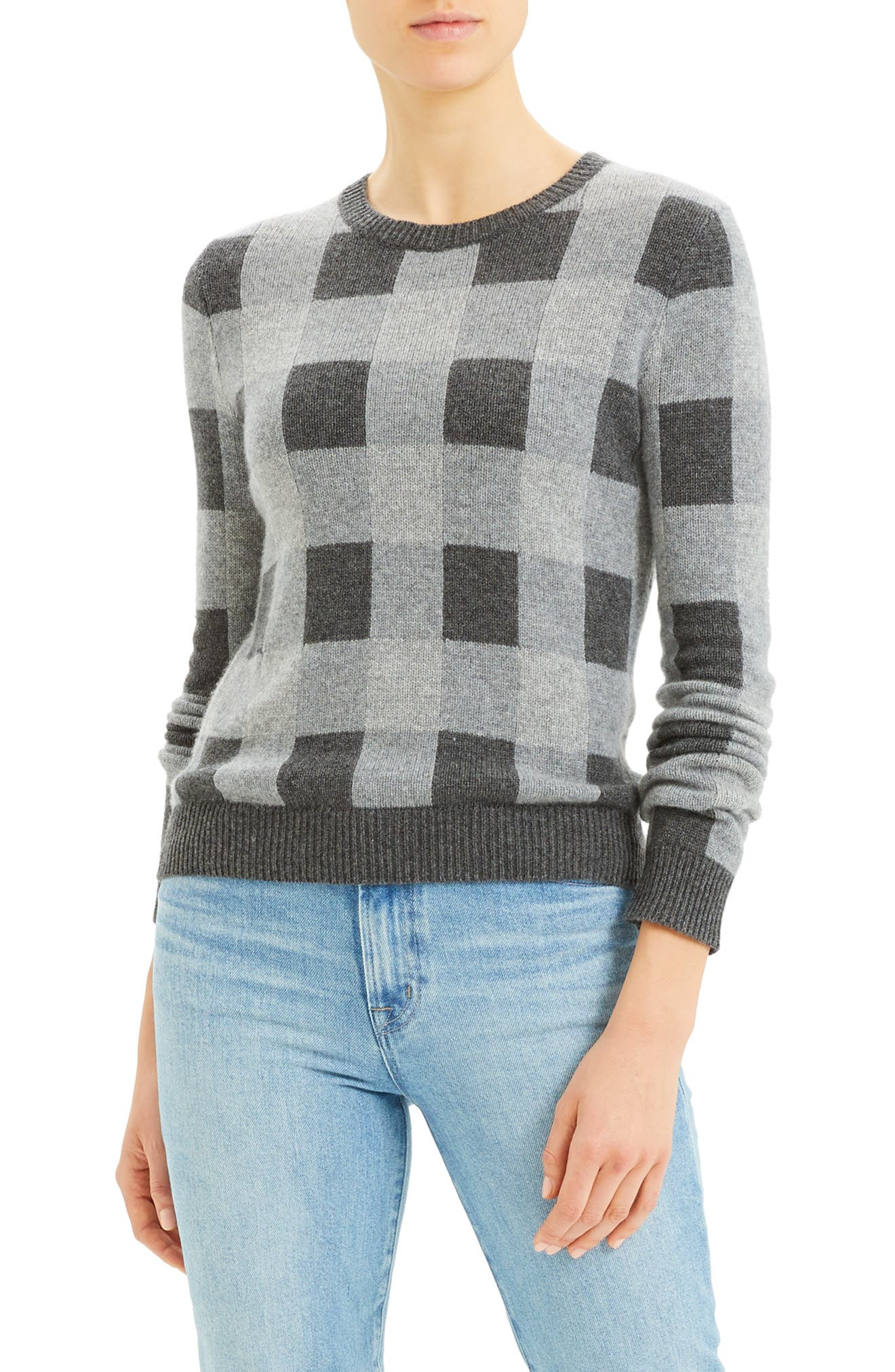 Image of Theory Plaid Crew Neck Cashmere Sweater